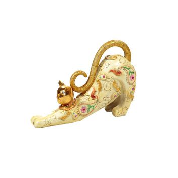 Essentials Décor Entrada Collection Polyresin Stretching Cat Figurine, 7.5 by 10-Inch