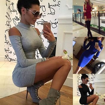 Fashion Autumn Winter Women Dresses Long Sleeve Solid Color Off Shoulder High Neck Lady