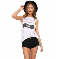 White Sleeveless Letters Print Graphic Tee