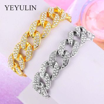 Men Luxury Gold Color Iced Out Crystal Fashion Bracelets High Quality Bangles Miami Cuban Link Chain Bracelet For Hip Hop Men
