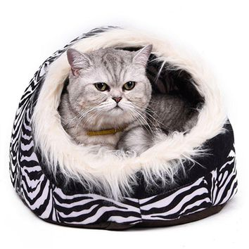Cat Cave Bed With Fur