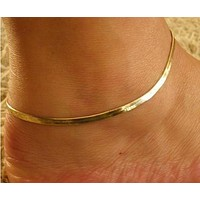 Herringbone Anklet in Gold Overlay