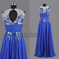 Custom Royal Blue Applique Long Prom Dresses Backless Evening Dresses Party Dress Homecoming Dresses Wedding Party Dress Bridesmaid Dresses