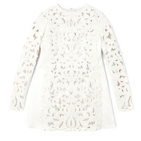 Agnello Long Sleeved A-Line Cut Out Embroidered Dress by Valentino - Moda Operandi
