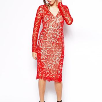 Forever Unique Muriel Lace Dress - Red