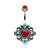 Vintage Boho Filigree Flower Belly Button Ring (Brass/Red/Turquoise)