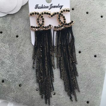 CHANEL Fashion new diamond tassel long section rainbow color earrings accessories women Black