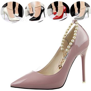 Women's Pearl Heels Ankle Chain Pumps Pointed Toe Shoes