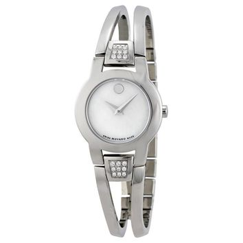 Movado Amorosa Diamond Mother of Pearl Dial Stainless Steel Ladies Watch 0606617