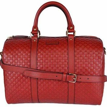 Gucci Women's Leather Micro GG Guccissima Convertible Boston Bag Satchel (Red)