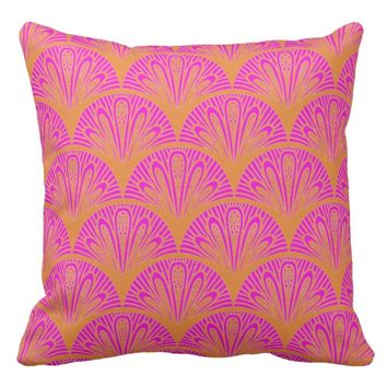 Tangerine & Fucshia Vintage Art Deco Design Pillow
