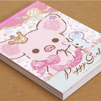 cute Piggy Girl Memo Pad pig & ribbon - Memo Pads - Stationery