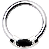 Silver 925 Jet Black Austrian Crystal Closure Ring | Body Candy Body Jewelry