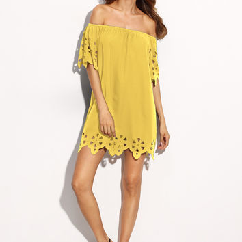 Yellow Off Shoulder Laser Cut Scalloped Bardot Dress