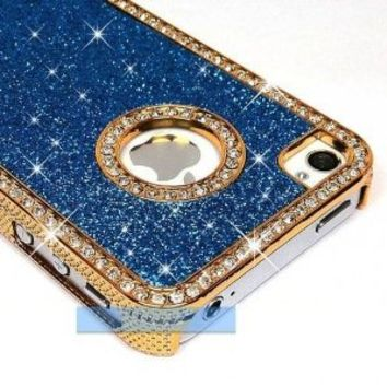 LiViTech Cushion Quilted Designer Diamond Rhinestone Crystal Bling Case iPhone 4 4S (AT&T ,VERIZON,SPRINT) (Sparkly L Blue)