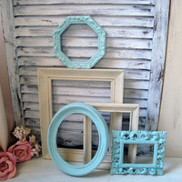 Blue and Cream Vintage Frames, Set of 5 Sea Glass Blue and Cream Ornate Frames, Open Frames, Beach Cottage Frame Gallery, Nursery Decor