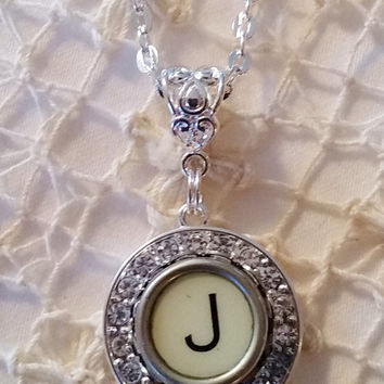 J Typewriter Necklace, Antique Typewriter Key Jewelry, J Pendant, Initial Necklace, Crystal and Silver Holiday Jewelry Letter J Gift for Her