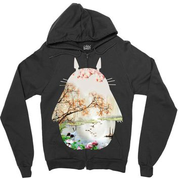 Totoro With Japanese Landscape Zipper Hoodie