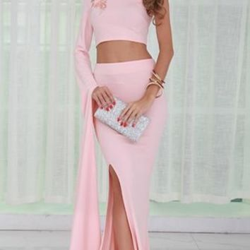 Keep On Lookin' Pink One Extra Long Sleeve Crop Top High Slit Two Piece Maxi Dress
