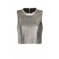 Lavish Alice | Pewter Sequin Split Back Crop Top | Spoiled Brat