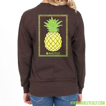 Monogrammed Seersucker Pineapple Brown Long Sleeve T-Shirt