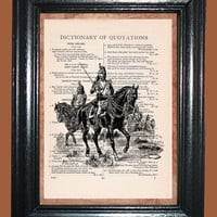 European French Horse Soldier - Vintage Dictionary Page Art Upcycled Book Art Print on Dictionary Page, French Horse Soldier Print