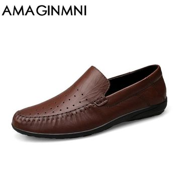 AMAGINMNI Big Size Men Genuine Leather Shoes Slip On Black Shoes Real Leather Loafers Mens Moccasins Shoes Italian Designer Shoe