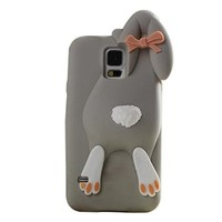 Moonmini 3D Lovely Buck Teeth Bunny Rabbit Soft Silicone Protective Case Cover Shell for Samsung Galaxy S5 i9600 - Grey