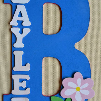 "WOODEN FLOWER (pink) Theme- Personalized 13"" Hand Painted Wooden Letter Initial Hanging Wall Art With Name"