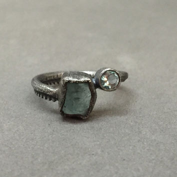 double stone engagement ring apatite raw gems faceted unique one of a kind wedding ring oxidized sterling silver custom ring
