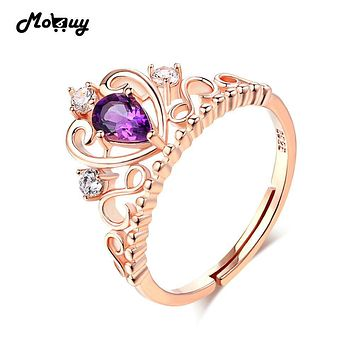 MoBuy MBRI049 Natural Gemstone Crown Amethyst Rings 925 Sterling Silver Jewelry Rose Gold Plated Engagement/Wedding For Women