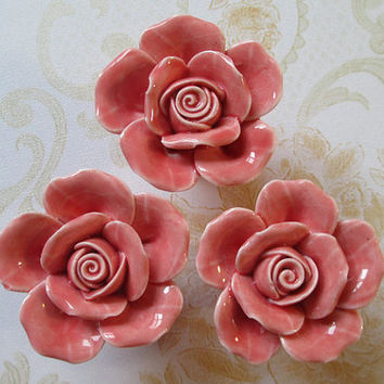 Knobs Rose Flower / Shabby Chic Dresser Knobs / Pink Ceramic Drawer Knobs Pulls Handles / Unique Cabinet Knobs Pull Handle Hardware
