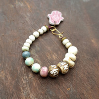 Slumber - Conch Shell - Padre Beads - White Stacking Bracelet