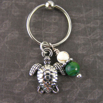 Sea Turtle & Green Jade, White Turquoise Captive Bead Ring Cartilage Hoop CBR 14 16 Gauge Tragus Conch Helix Piercing