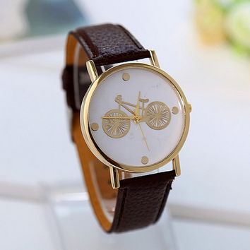 Women's Cartoon Bicycle Watch with Brown Leather Strap Wrist Ladies