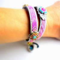 Hippie bracelets, ibiza, bohemian jewelry, leather with pink white black silver chain, tribal ornament cowgirl