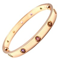 Cartier Multi Gem Gold Love Bangle Bracelet