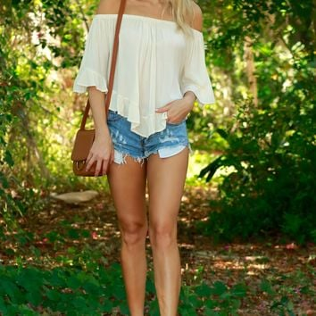 No Hands Ruffle Top Beige