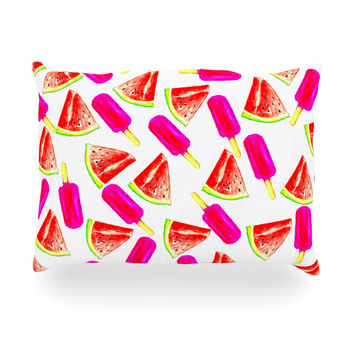 "Sreetama Ray ""Strawberry & Watermelon"" Pink Red Oblong Pillow"