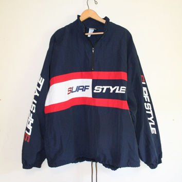 SURF STYLE WINDBREAKER // size large // 90s // jacket // tommy hilfiger knockoff // vintage!