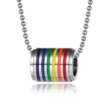 LGBT NECKLACE Gay Pride Chain Pendents Big Spacers Bisexual LGBT Jewelry Lesbian Rainbow Marriage Stainless Steel Pendent