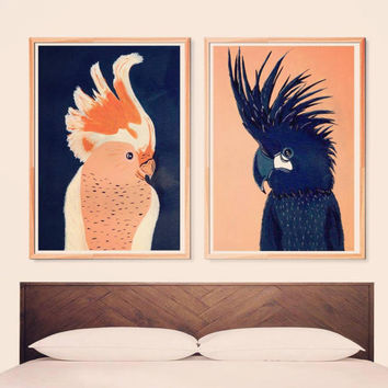 Set of 2 posters | Love birds | Parrots art | Couple art | Indigo and peach painting | Wall art | Wall decor | Poster art | Printable poster