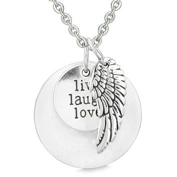 Guardian Angel Wing Live Laugh Love Inspirational Medallion Magic Amulet White Quartz Necklace