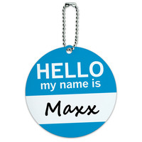 Maxx Hello My Name Is Round ID Card Luggage Tag