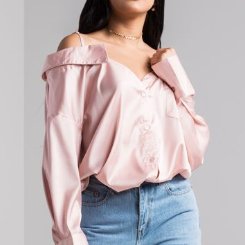 AKIRA Silky Long Sleeve Button Up Cold Shoulder Blouse in Blush, Black