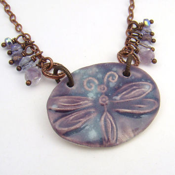 Purple dragonfly necklace, antiqued copper chain, lavender ceramic 19 1/2 inches