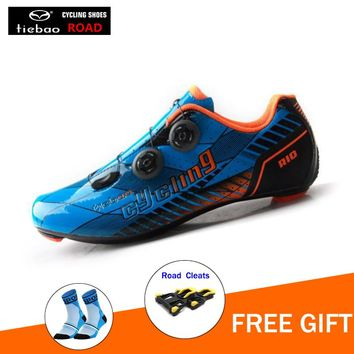 TIEBAO carbon cycling shoes road sapatilha ciclismo and splint as gift cycling sneakers shoes for hunting bicycle riding shoes