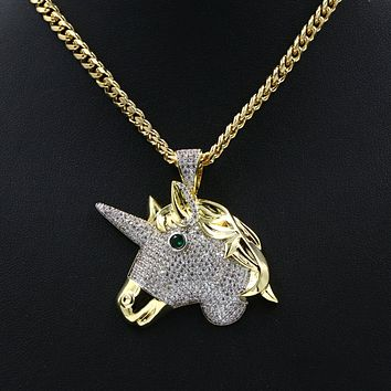 Hiphop Iced Out Unicorn Brass Pendant W/ 5mm 18-30 inches Cuban Chain