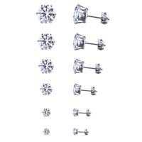 6 Pcs Rhinestone Different Sizes Stud Earrings