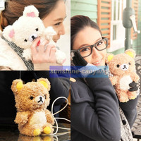 Cute Teddy Bear Cool Plush Toy Doll & Cover Case For Iphone 4G 4S 5G